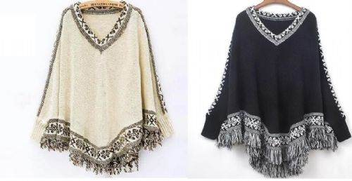 Ladies Knitted Poncho Cape Shawl Wrap With Tassels Ponchos Long Sleeves